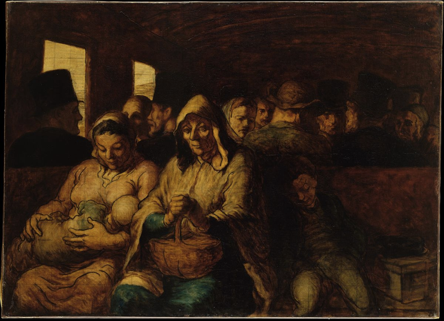Daumier, Third Class Railway Carriage, 1864.
